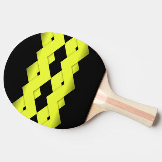 Yellow Zigzag on Black Ping Pong Paddle