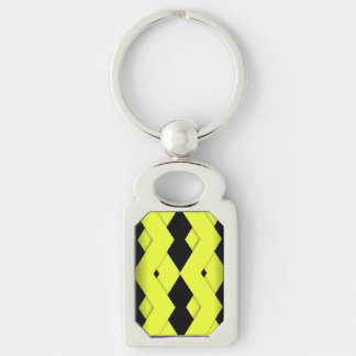 Yellow Zigzag on Black Silver-Colored Rectangle Key Ring