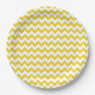 Yellow Zigzag Stripes Chevron Pattern 9 Inch Paper Plate