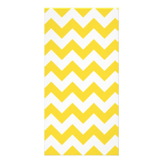 Yellow Zigzag Stripes Chevron Pattern Photo Card