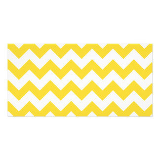 Yellow Zigzag Stripes Chevron Pattern Photo Greeting Card