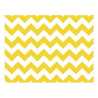 Yellow Zigzag Stripes Chevron Pattern Postcard