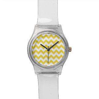 Yellow Zigzag Stripes Chevron Pattern Wristwatches