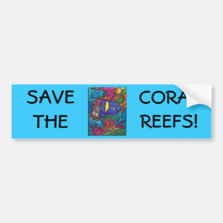 "Yellowbar Angelfish Coral Reef Art ""Stained Glass"" Bumper Sticker"