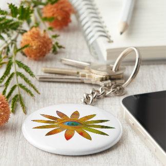 Yellowish Eye Flower Basic Round Button Key Ring