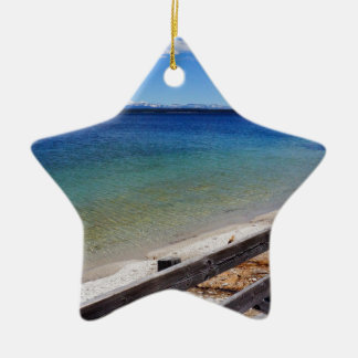 Yellowstone Bridge Over Water (abstract water) Ceramic Star Decoration