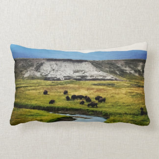 Yellowstone Buffalo in the Valley Lumbar Cushion