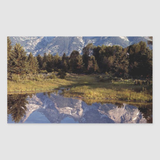 Yellowstone Grand Teton Reflections Rectangular Sticker