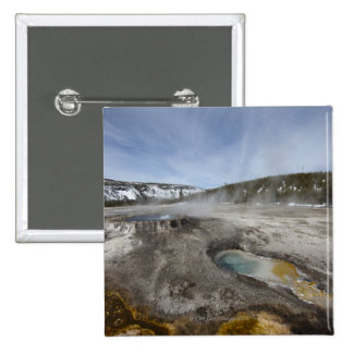 Yellowstone is famous for its geothermal 15 cm square badge