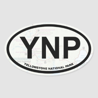 Yellowstone map sticker (black text)