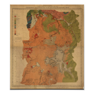 Yellowstone National Park 1878 Geologic Survey Map Poster