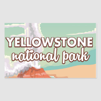 Yellowstone national park cartoon travel poster rectangular sticker