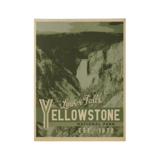 Yellowstone National Park Lower Falls Wood Poster