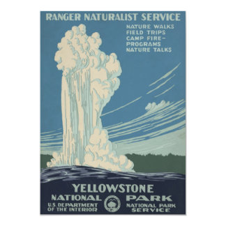 Yellowstone National Park Old Faithful 13 Cm X 18 Cm Invitation Card