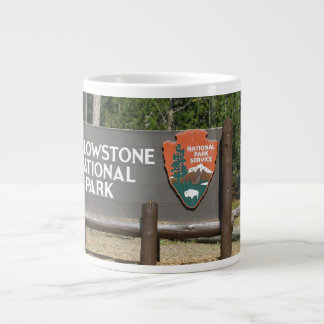 Yellowstone National Park, sign, Wyoming, U. S. Large Coffee Mug