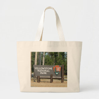 Yellowstone National Park, sign, Wyoming, U. S. Large Tote Bag