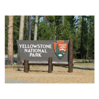 Yellowstone National Park, sign, Wyoming, U. S. Postcard