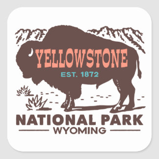 Yellowstone National Park Square Sticker