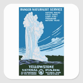 Yellowstone National Park Vintage Square Sticker