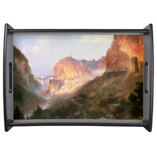 Yellowstone Waterfall River Mountains Serving Tray