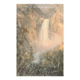 Yellowstone Waterfall River Mountains Stationery