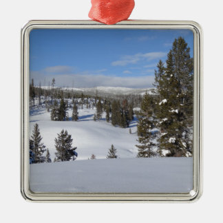 Yellowstone Winter Landscape Photo Metal Ornament