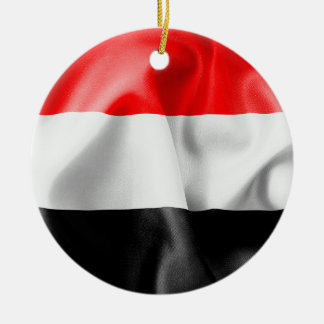 Yemen Flag Ceramic Christmas Ornament