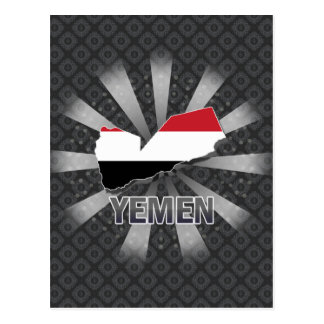 Yemen Flag Map 2.0 Postcards