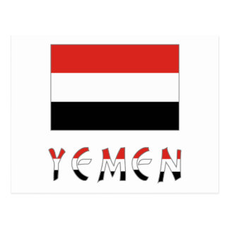 Yemen Flag & Word Postcard