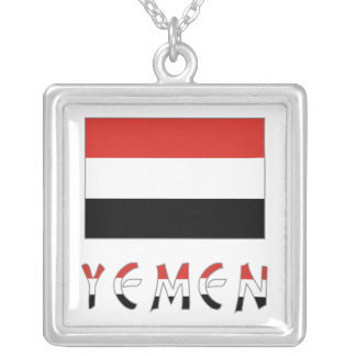 Yemen Flag & Word Square Pendant Necklace