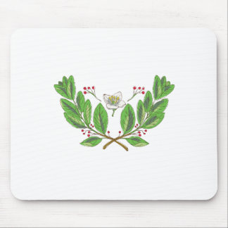 Yerba Mate Flower Leaf and Fruit Drawing Mouse Pad