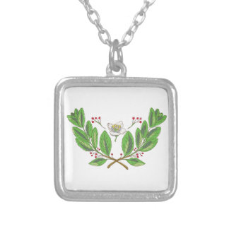 Yerba Mate Flower Leaf and Fruit Drawing Silver Plated Necklace