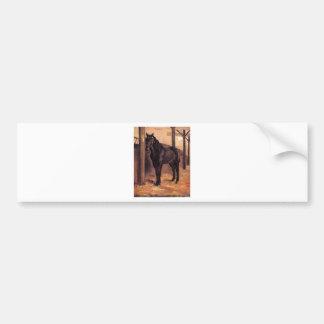 Yerres, Dark Bay Horse in the Stable by Gustave Ca Bumper Sticker