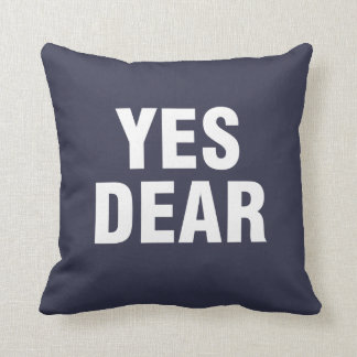 """Yes Dear"" Personalized blue Cushion"