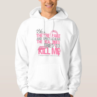 Yes Fake and Spectacular - Breast Cancer Hooded Sweatshirts