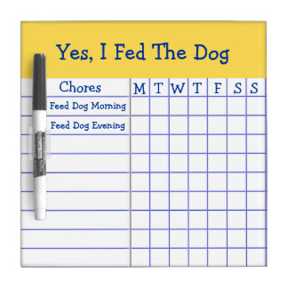 Yes I Fed The Dog Kids Weekly Chores Check List SM Dry Erase Board