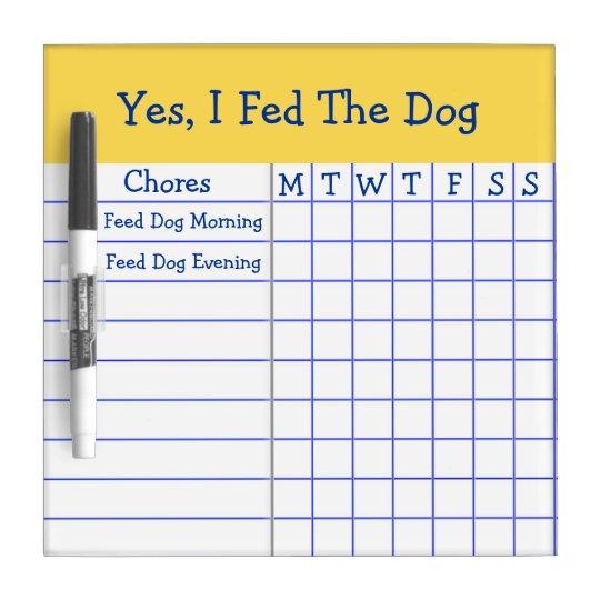 yes i fed the dog kids weekly chores check list sm dry
