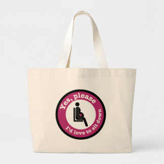 Yes, please, I'd love to sit down Large Tote Bag