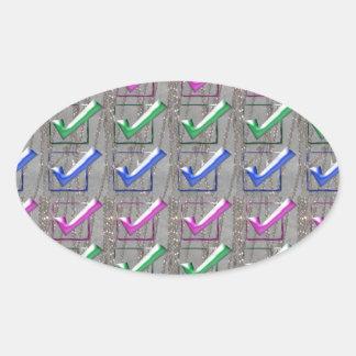 YES positive STROKES pattern NVN173 NavinJOSHI FUN Oval Stickers