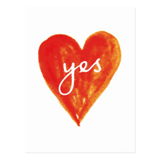 yes, red heart with text postcard