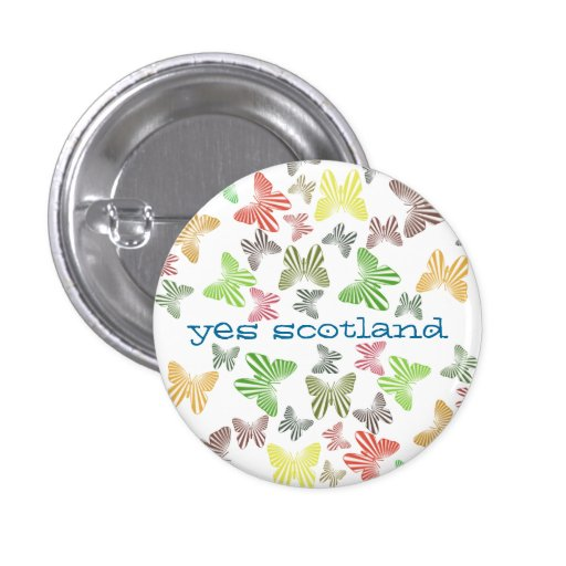 Yes Scotland Retro Butterflies Button Badge