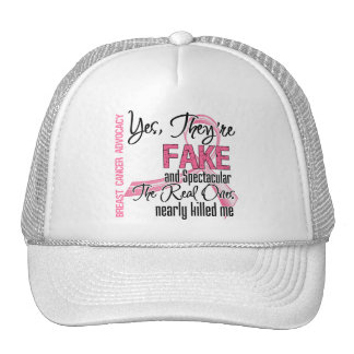 Yes They Are Fake and Spectacular - Breast Cancer Trucker Hat