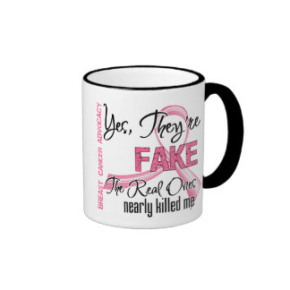 Yes They Are Fake - Breast Cancer Ringer Mug