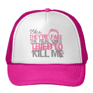 Yes They Are Fake v2 - Breast Cancer Trucker Hat
