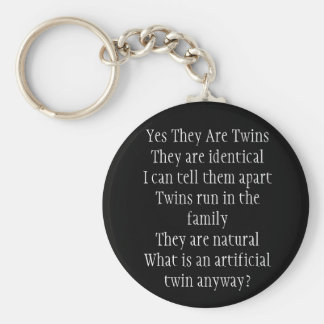 Yes They Are Twins Basic Round Button Key Ring