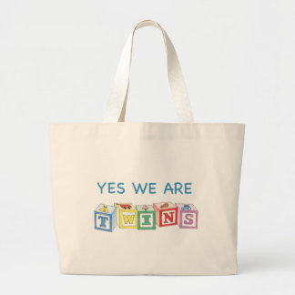 Yes we are twins blocks jumbo tote bag