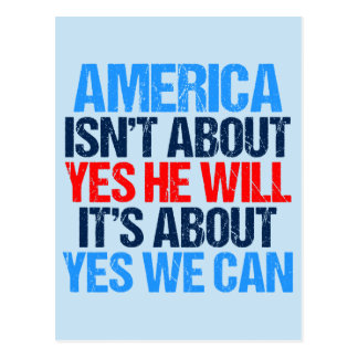Yes We Can Inspirational Obama Quote Postcard