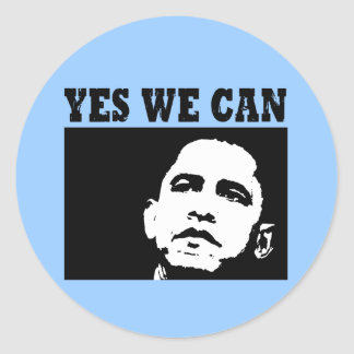Yes we can Obama 2008 Sticer Classic Round Sticker
