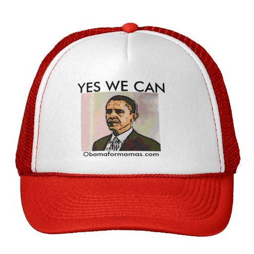 YES WE CAN, Obamaformamas.com Mesh Hat