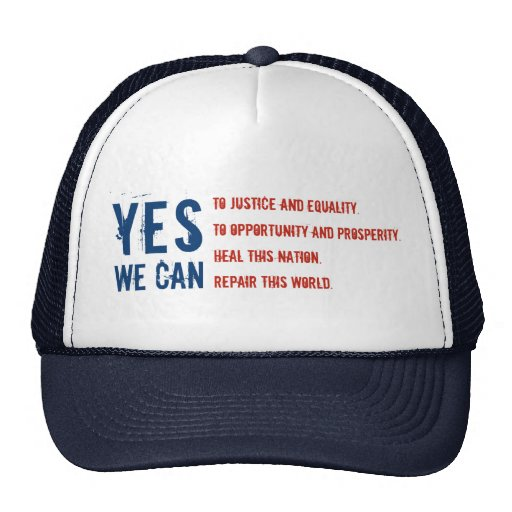 YES WE CAN SPEECH USA FLAG Hat